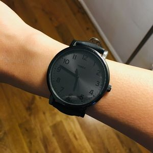 Timex Oversized Black Face Leather Watch